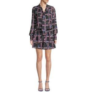 Parker | Printed Tie-Neck Drop-Waist Dress Black M